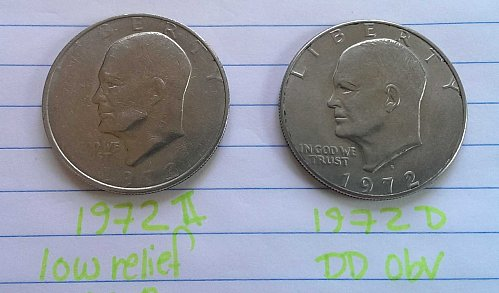 1972 Type II Low Relief Earth (rare) & 1972 D Eisenhower error coins