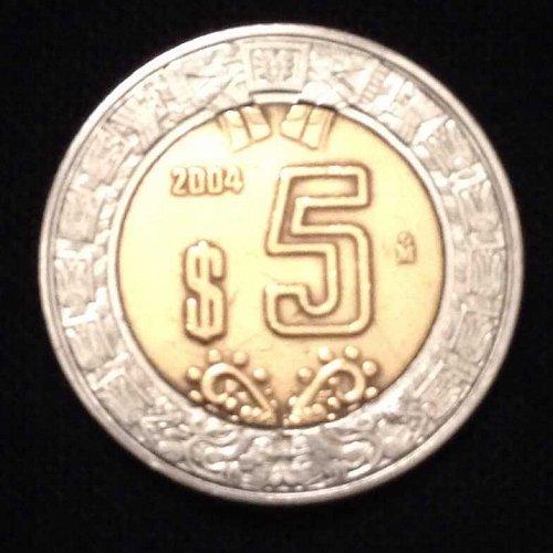 2004 5 Pesos Mexico Coin