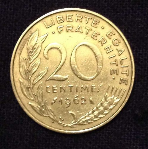 1962 20 Centimes France Coin