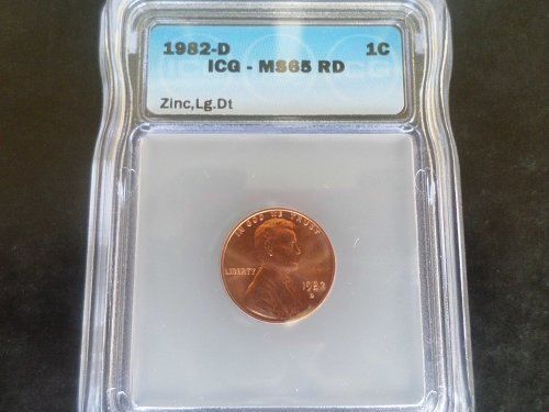 Gorgeous  1982 LARGE DATE ZINC MS 65  ( RED) Lincoln Memorial Cent