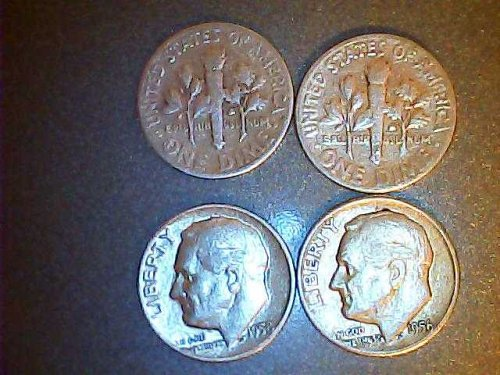 coin lot of 4-Roosevelt silver dimes-53,56,57,58