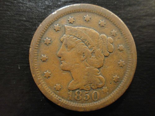 1850 Braided Hair Large Cent Fine-12 Nice Attractive Chocolate Brown