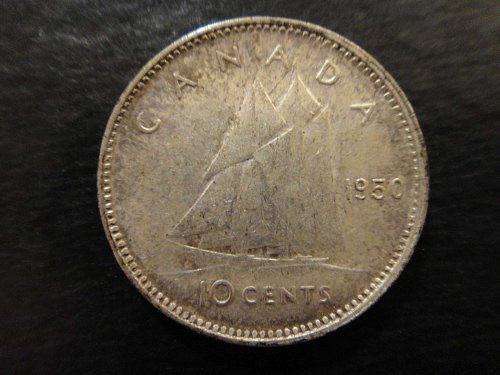 CANADA Dime 1950 Extra Fne-40 Attractive Toning Esp at North Edge of Obverse