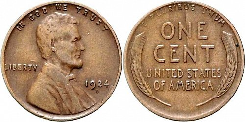 1924 D Lincoln Wheat Cent Small Cents