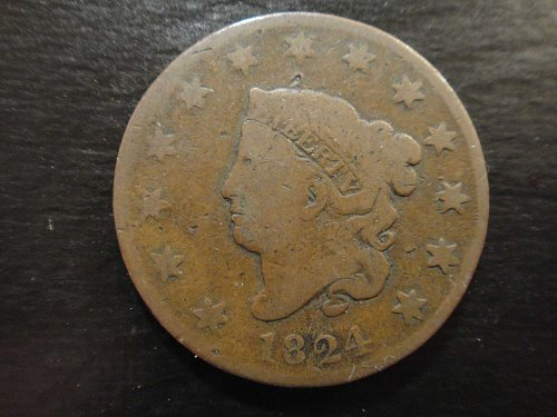 1824 Coronet Large Cent N3-R3 Very Good-8 Nice Chocolate Brown