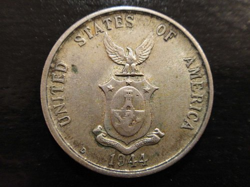 PHILIPPINES 20 Centavos 1944-D XF-40 75% SILVER 0.0964 ASW