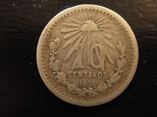 MEXICO 10 Centavos 1906 Fine-15 80% SILVER 0.0643 ASW KM#428 Original Patina!
