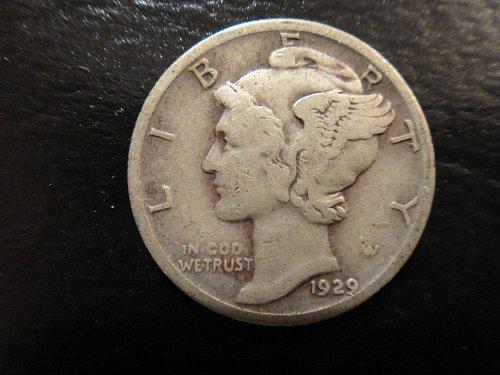 1929 Mercury Dime Fine-15 Nice A Bit Darker Old Silver Patina!