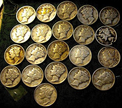 21 Mercury silver dimes   $1.58 each---NONE CHEAPER!!!~!
