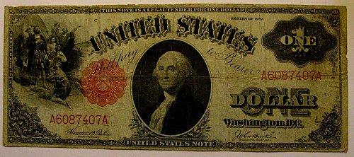 Lg. US Paper $1. NOTE Fr.36 sml. Redseal Teehee/Burke  Merry CHRISTmas!!