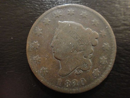 1820/19 Overdate Small Date N3 R2 Coronet Large Cent VG-8 Slight Rotated Reverse