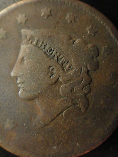 1837 Head of 1838 N6 R2 Coronet Large Cent Very Good-8 Decent Eye Appeal