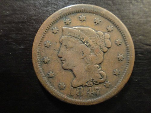 1847 Braided Hair Large Cent Fine-12 Nice Light Chocolate Brown