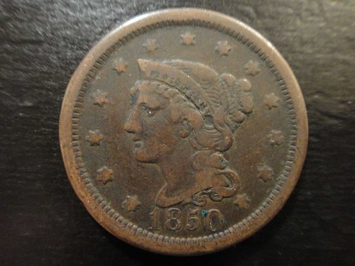 1850 Braided Hair Large Cent Fine-12 Nice Chocolate Brown
