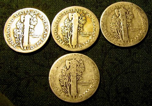 Mercury Silver  dimes 1916,1917D,1918, &1918D   Price to sell!!