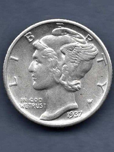 1937 Silver Mercury Head Dime US Coin