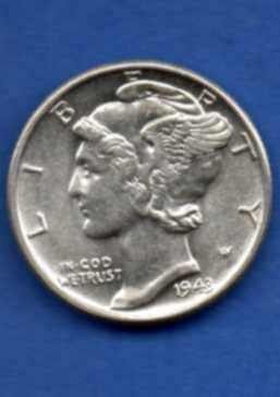 1943 Silver Mercury Head Dime US Coin