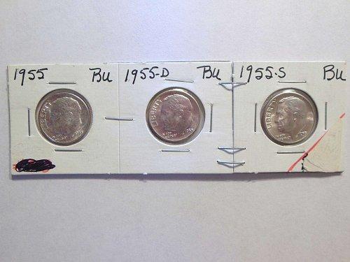 Set of 3 BU's 1955-P, D & S Silver Roosevelt Dimes