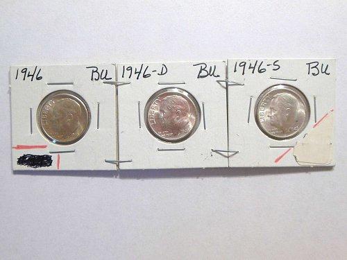 Set of 3 BU's 1946-P, D & S Silver Roosevelt Dimes