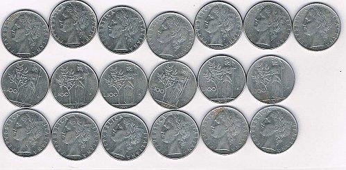 1957 L.100 R Italian coin