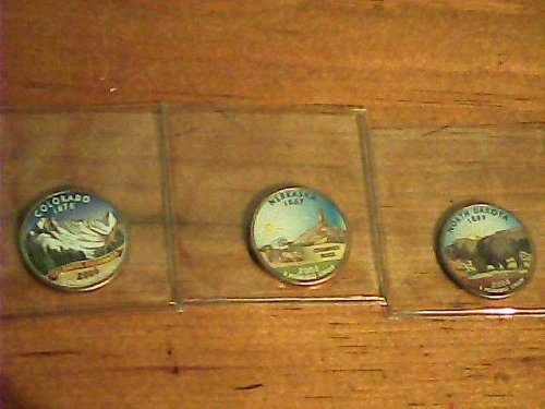 3-Colorized Washington state quarter's-N Dakota,Colorado & Nebraska