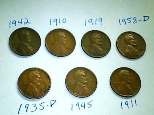 7-Coin Lot-US Lincoln Wheat Cent's