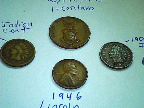 4-coin lot-1907& 04 Indian head's-1946 Lincoln cent & 1941 WWII US/Filipine cent
