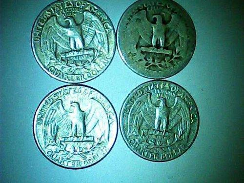 lot of 4 Washington pre 1965 quarters 90% silver