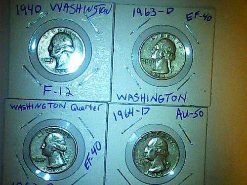 lot of 4 Washington silver quarters 1940,1962,1963 and 1964-D