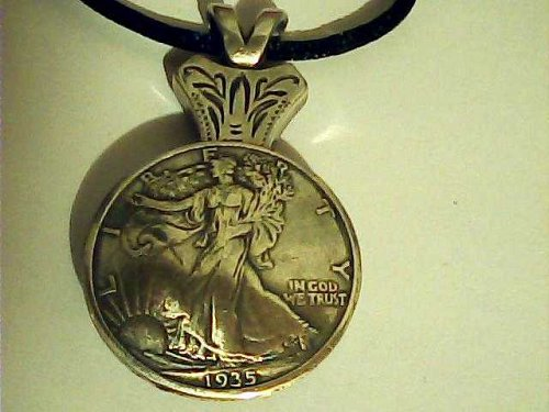 1935 Walking Liberty silver coin pendant