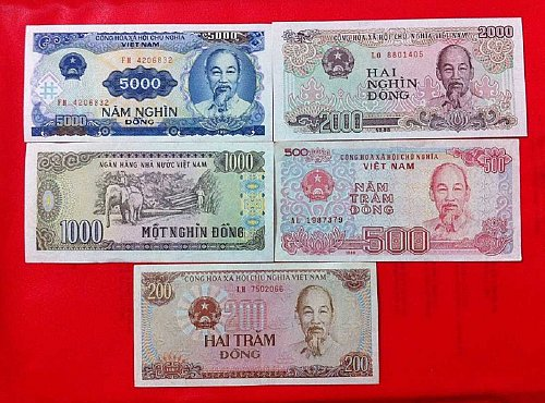 200,500,1000,2000,5000 set 5pcs Vietnam banknote