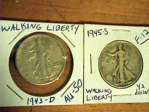 2 Walking Liberty 1/2 dollars-lot of 1945-s & 1943-d