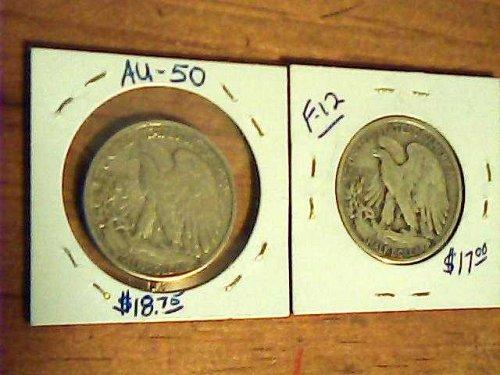 2 Walking Liberty 1/2 dollars-lot of 1945-s & 1943-d