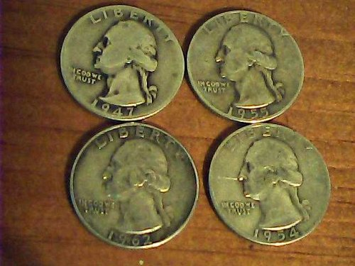 Great 4 coin lot-4 Wash. .25cent-1947,1955,1954 & 1962-90% silver coins