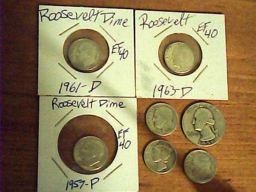 Lot of US silver coins:5 Roosevelt dimes:1961d,63d,57,59d,53dmercury1941&1956.25