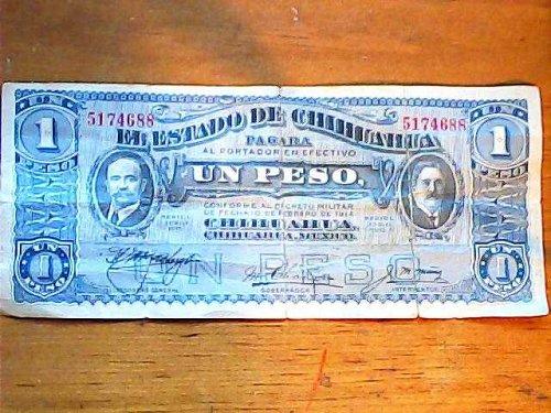 CHIHIUAHUA,Mexico 1914 UN PESO-RARE bill!