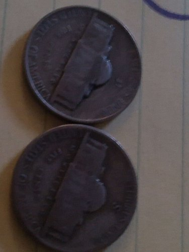 1945 D & 1943 S jefferson Nickels