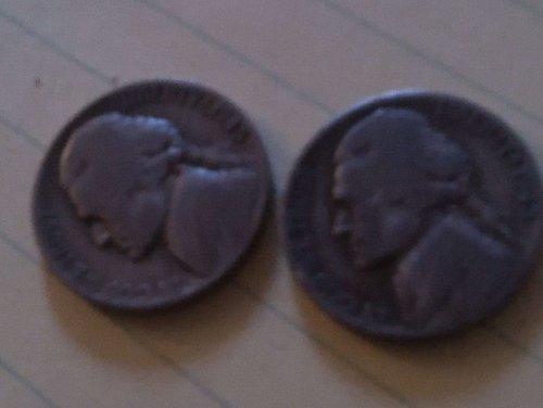 1945 D & 1943 S jefferson Nickels