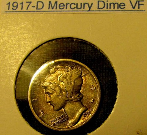 1917 D mercury SILVER Dime  choice strike   Merry CHRISTmas!!