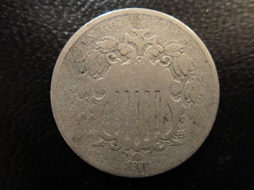 1868 Shield Nickel Good-4- Full Rim with Spot in NW Obverse