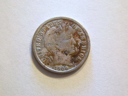 1906 Silver Barber Dime