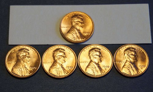 Lot of 5 RAW Mint State 1970s Small Date Lincoln Cents.  Easily MS 65+ IMHO