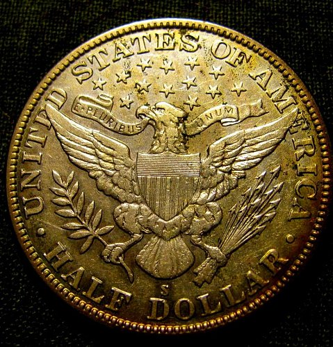 1914 S choice Barber half Dollar plus Golden toning!!!!  Fianl LisT//