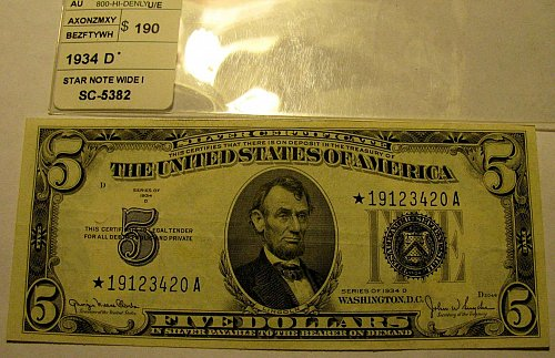 "Large US Bill 1934 D Serial 19123420A ""STAR"" Clarke/Snyder FINAL $39.00"