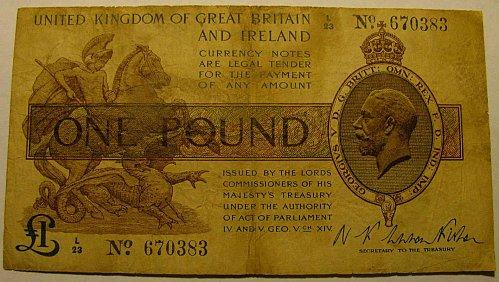 United kingdom ONE POUND WW1  period serial 670383  rare///   FINAL LISTING!!