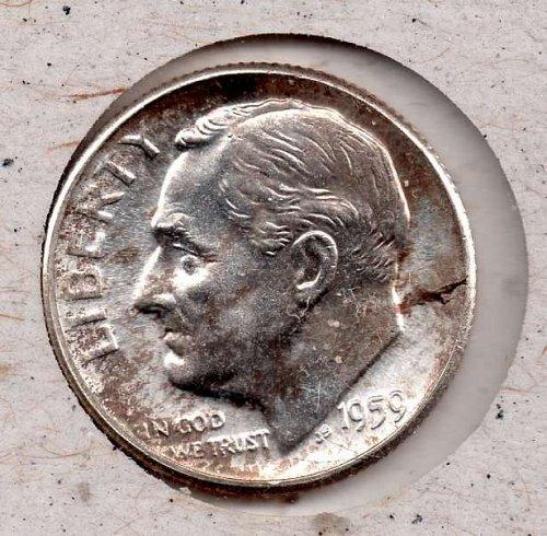 1959p BU Roosevelt Dime - #5