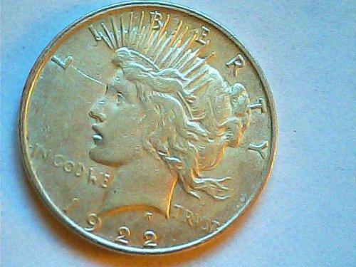 1922 D Silver Peace dollar-AU
