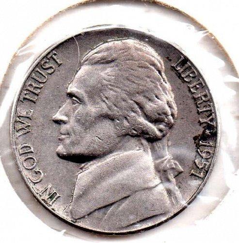 1951p Jefferson Nickel #5