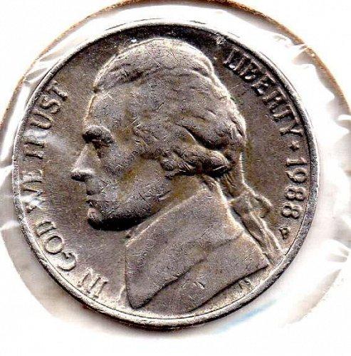 1988p Jefferson Nickel #5