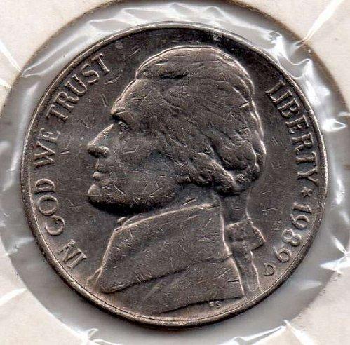 1989d Jefferson Nickel #5
